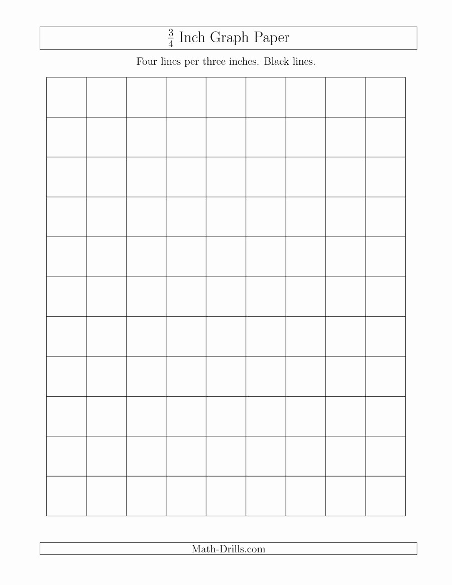 Printable Graph Paper Black Lines Luxury 3 4 Inch Graph Paper with Black Lines A
