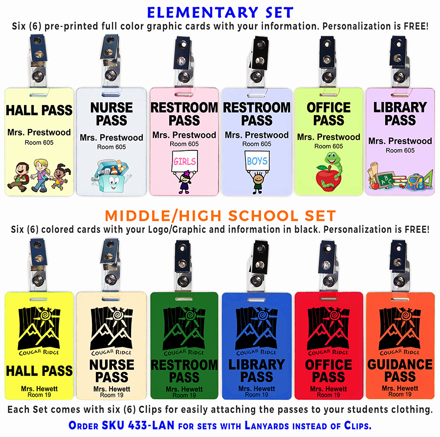 Printable Hall Passes for Students Awesome Hall Pass Set Of 6 Plastic Hall Pass Cards with Clips