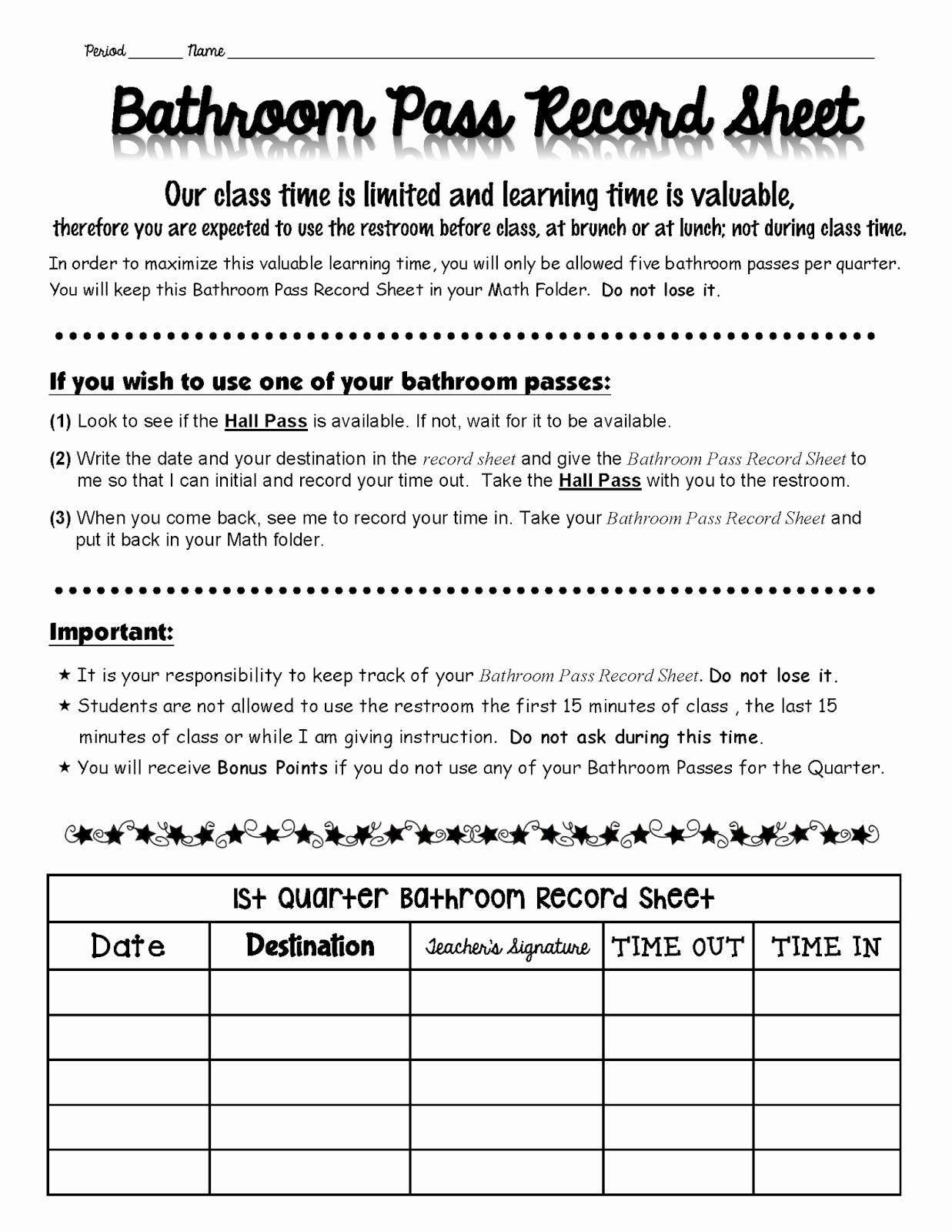 Printable Hall Passes for Students Best Of Rockstar Math Teacher ★ Classroom Posters and Bathroom
