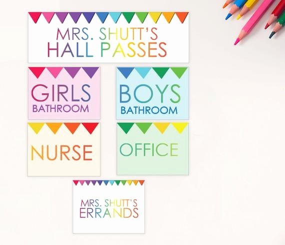 Printable Hall Passes for Students Inspirational Student Hall Passes Printable Customized Girls Boys Nurse