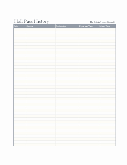 Printable Hall Passes for Students Luxury Student Hall Pass Log