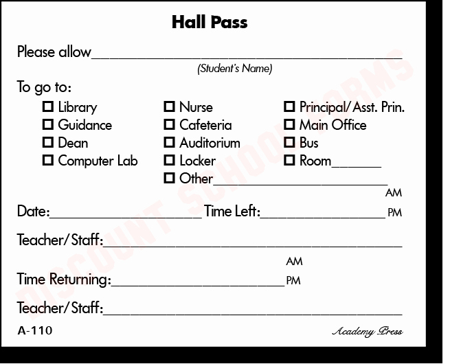 Printable Hall Passes for Students New Health Center Referral