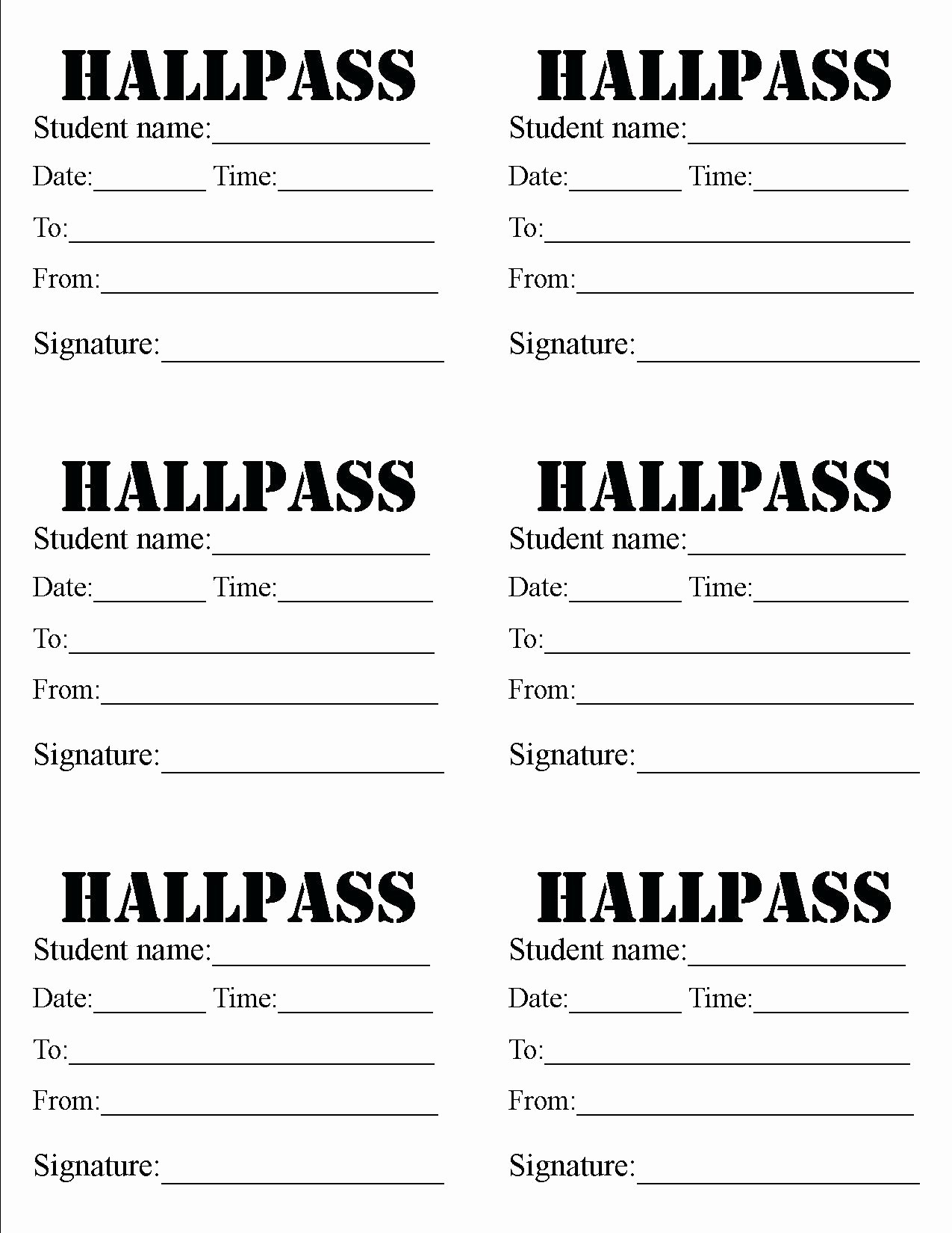 Printable Hall Passes for Students New Printable Printable Hall Passes for Teachers
