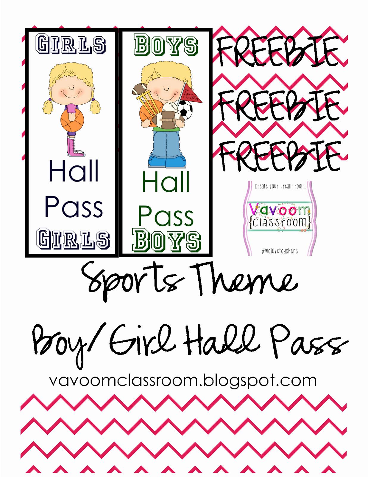 Printable Hall Passes for Students New Vavoom Classroom Sports theme Classroom Kit Hall Passes