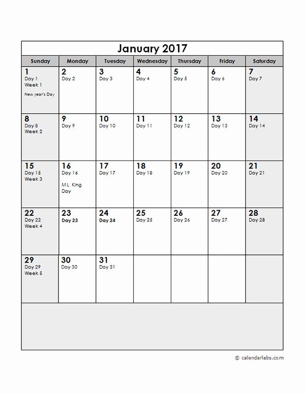 Printable Julian Date Calendar 2017 Inspirational 2017 Calendar with Julian Dates Free Printable Templates