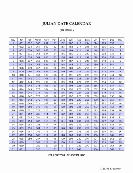 Printable Julian Date Calendar 2017 Unique Printable Leap Year Julian Calendar