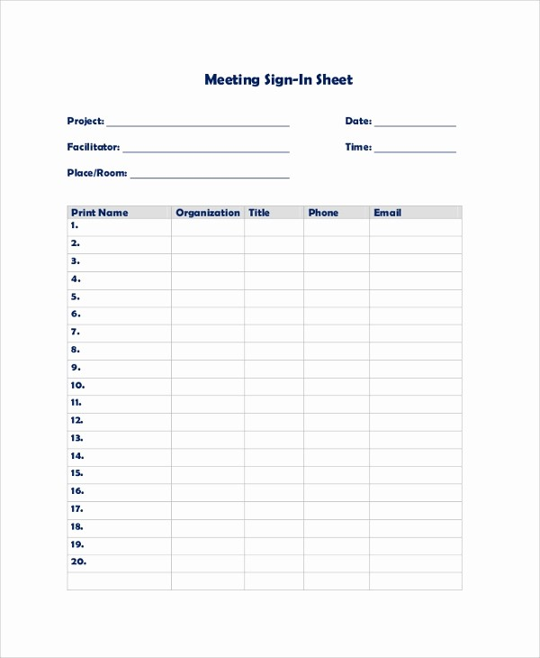 Printable Meeting Sign In Sheet Beautiful 9 Sample Sign In Sheets