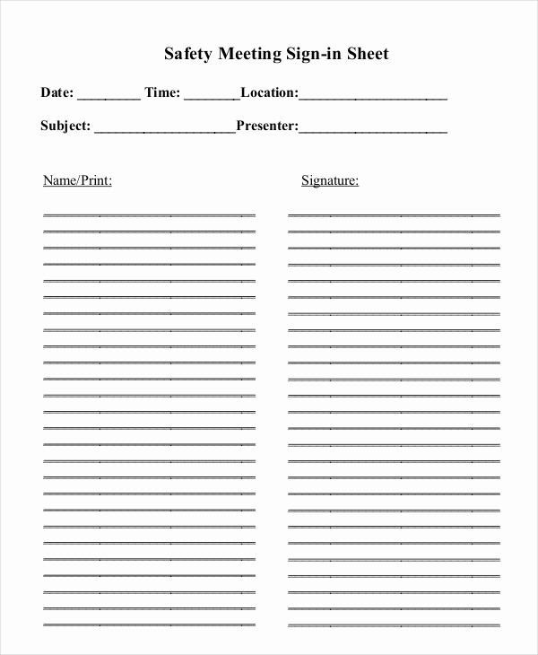 Printable Meeting Sign In Sheet Lovely Construction Safety Meeting Sheets to Pin On