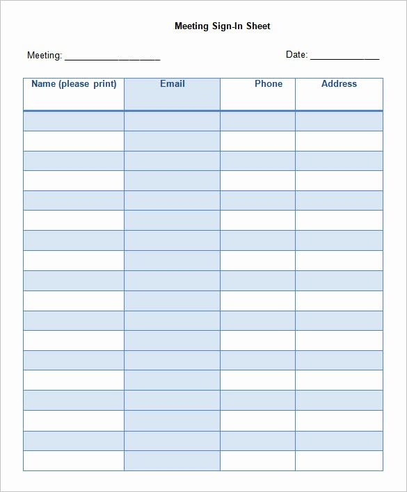 Printable Meeting Sign In Sheet New 75 Sign In Sheet Templates Doc Pdf