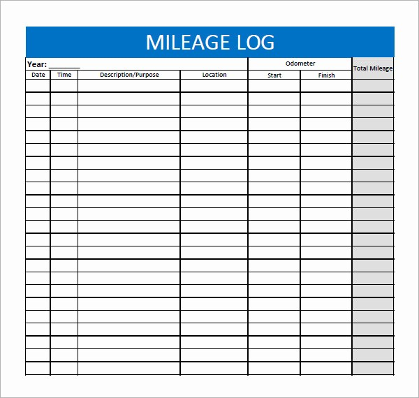 Printable Mileage Log for Taxes Awesome 13 Sample Mileage Log Templates to Download