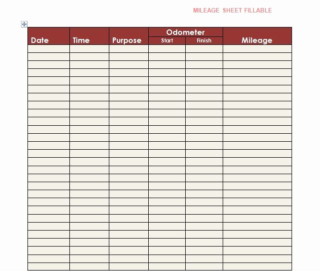 Printable Mileage Log for Taxes Awesome 30 Printable Mileage Log Templates Free Template Lab