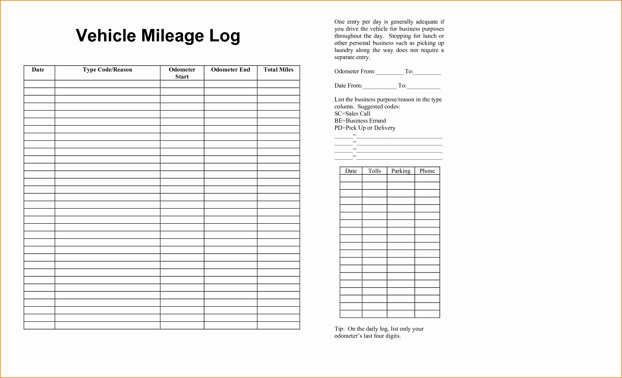 Printable Mileage Log for Taxes Beautiful 6 Vehicle Mileage Log