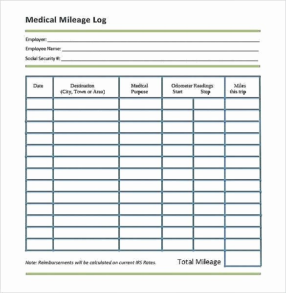 Printable Mileage Log for Taxes Beautiful Mileage Tracker form Business Spreadsheet Free Driver Log