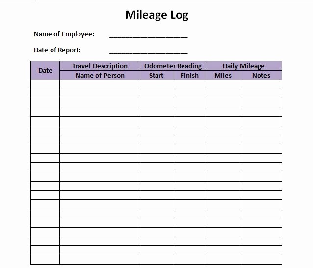 Printable Mileage Log for Taxes Elegant 30 Printable Mileage Log Templates Free Template Lab