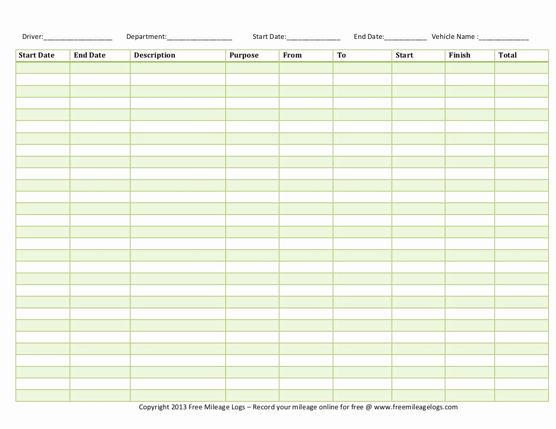 Printable Mileage Log for Taxes Elegant Printable Mileage Log for Taxes