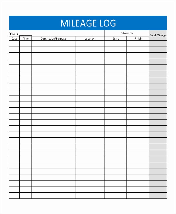 Printable Mileage Log for Taxes Inspirational Mileage Log Template