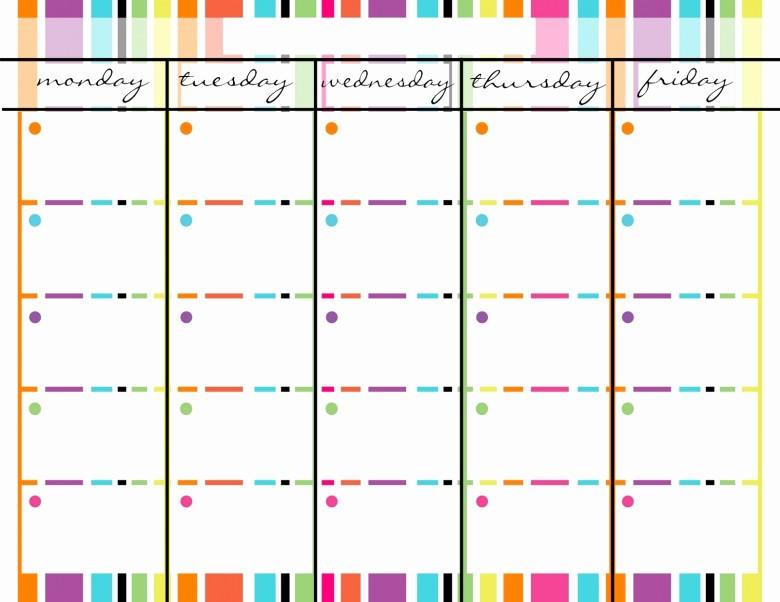 Printable Monday Through Friday Calendar Beautiful Blank Monday Through Friday Calendar Free Calendar Template