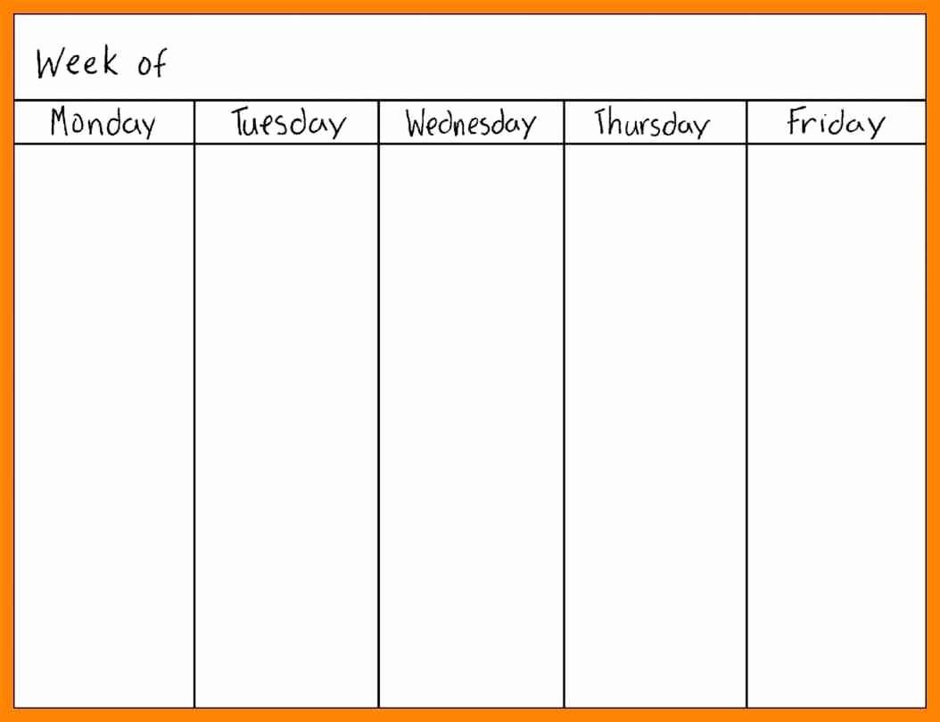 Printable Monday Through Friday Calendar Elegant Blank Calendar Template Monday Friday