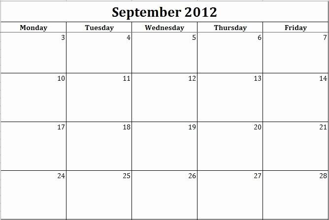 Printable Monday Through Friday Calendar Elegant Calendar Template Monday Through Friday Invitation Template