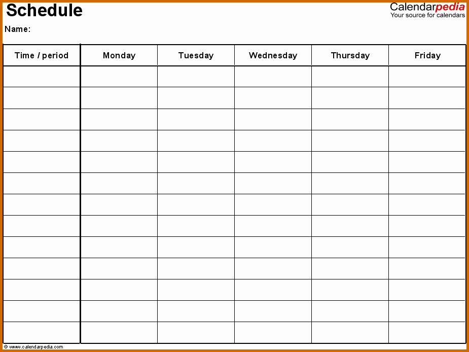 Printable Monday Through Friday Calendar Fresh 11 Monday Through Friday Printable Calendar