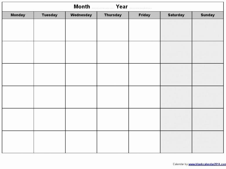 Printable Monday Through Friday Calendar Fresh Monday Through Friday Monthly Calendar Free Calendar