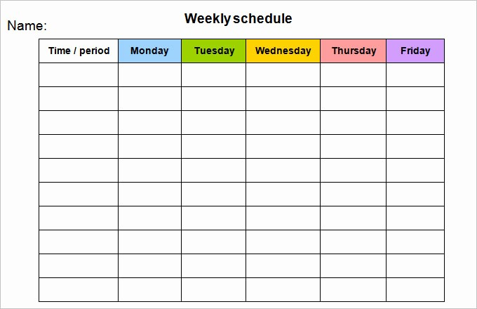 Printable Monday Through Friday Calendar Fresh Week Calendar Template 8 Free Word Documents Download