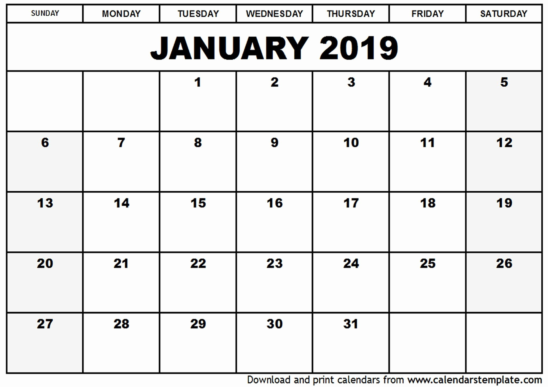 Printable Monday Through Friday Calendar Inspirational Monday Through Friday Calendar Template January 2019