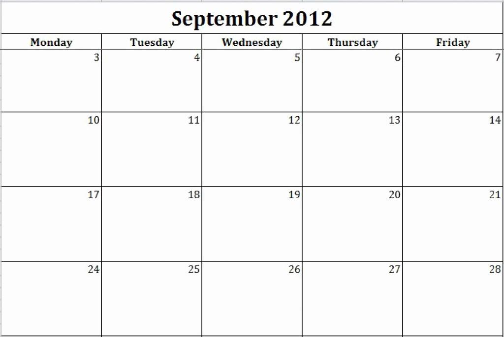 Printable Monday Through Friday Calendar Inspirational Monday Through Friday Printable Calendar