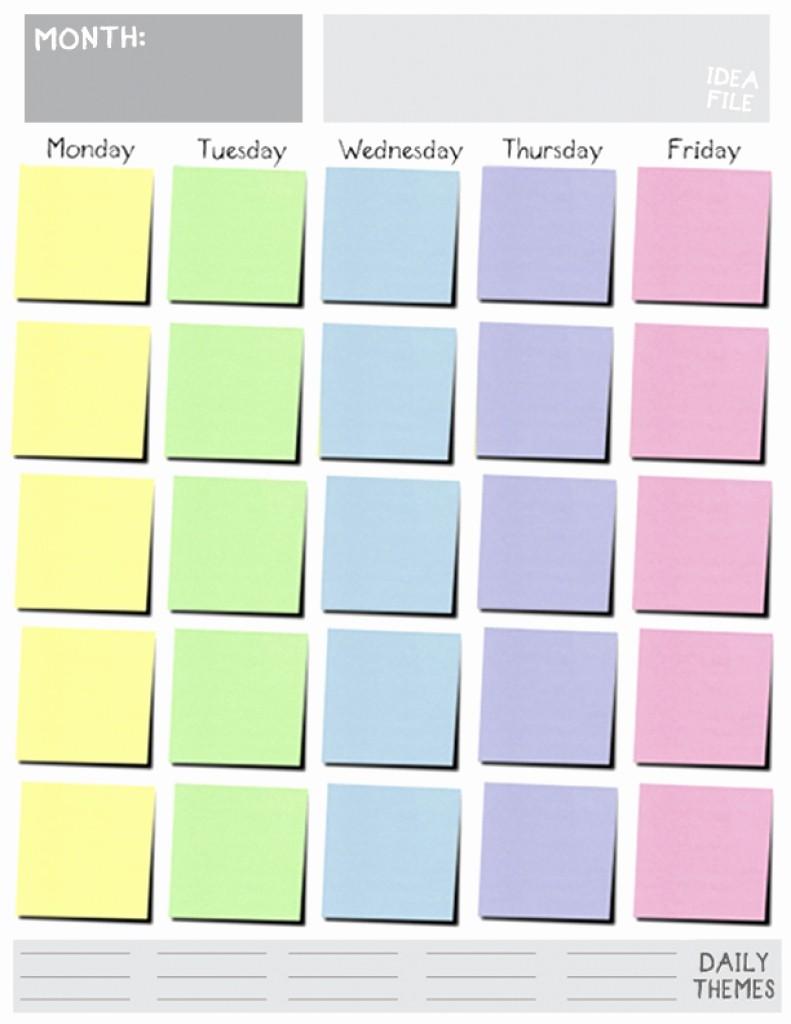 Printable Monday Through Friday Calendar Lovely Monday Friday Calendar Template Printable