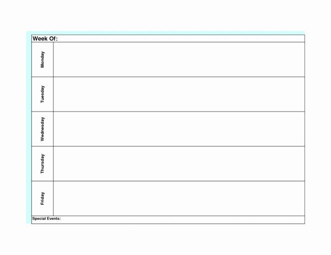 Printable Monday Through Friday Calendar Luxury Monday Friday Calendar Template Printable