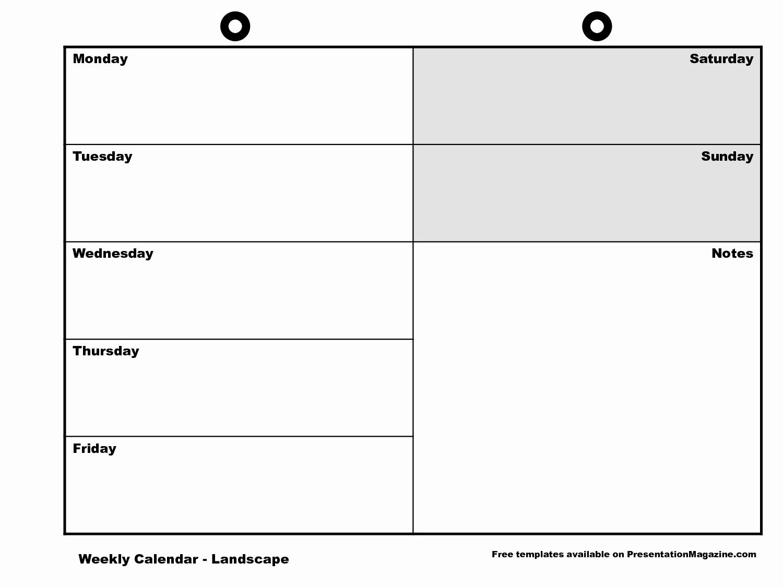 Printable Monday Through Friday Calendar New Monday Friday Calendar Template Printable