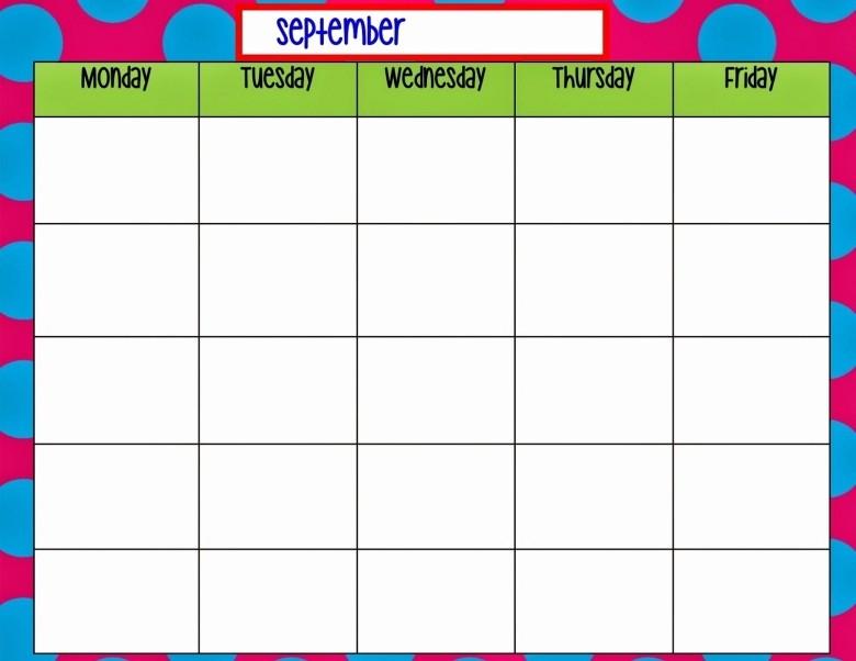 Printable Monday Through Friday Calendar New Monday Through Friday Monthly Calendar Free Calendar