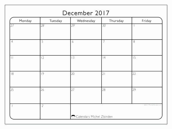 Printable Monday Through Friday Calendar Unique Printable Blank Calendars Templates Monday Through Friday