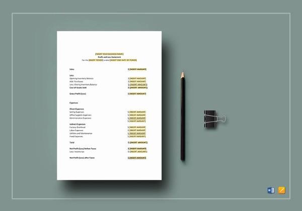 Printable Profit and Loss Statement Elegant Profit & Loss Statement Template 13 Free Pdf Excel