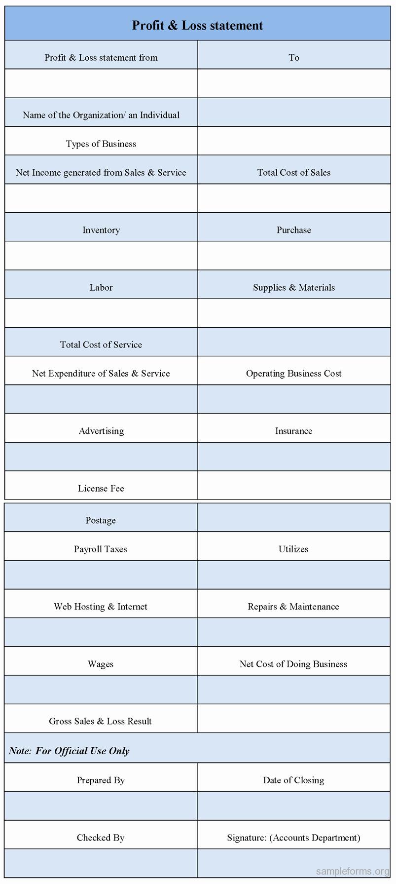 Printable Profit and Loss Statement Fresh Profit and Loss Statement form Sample forms