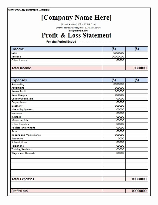 Printable Profit and Loss Statement Luxury 35 Profit and Loss Statement Templates & forms