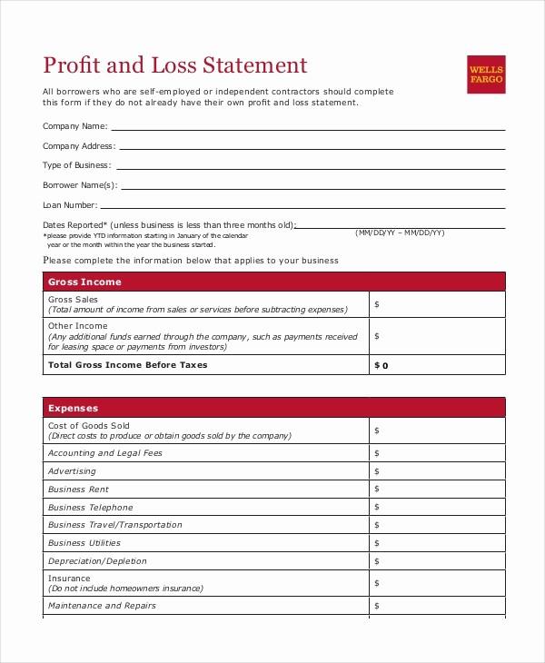 Printable Profit and Loss Statement Unique Profit & Loss Statement Template 9 Free Pdf Excel