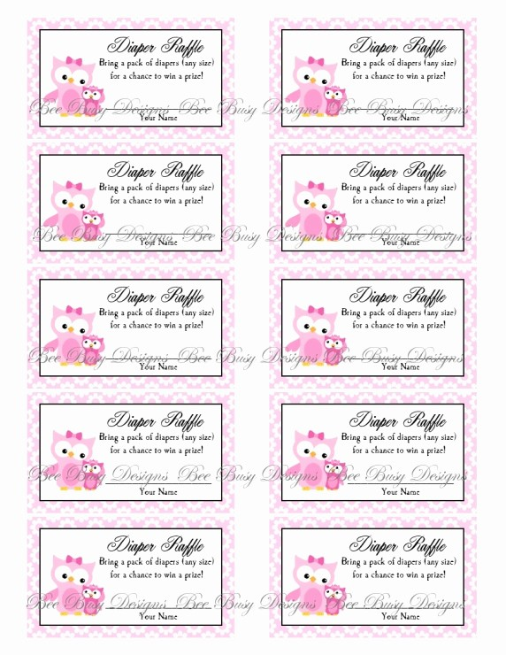 Printable Raffle Tickets Blank Kids Best Of Printable Pink Mom with Little Girl Owl Diaper Raffle