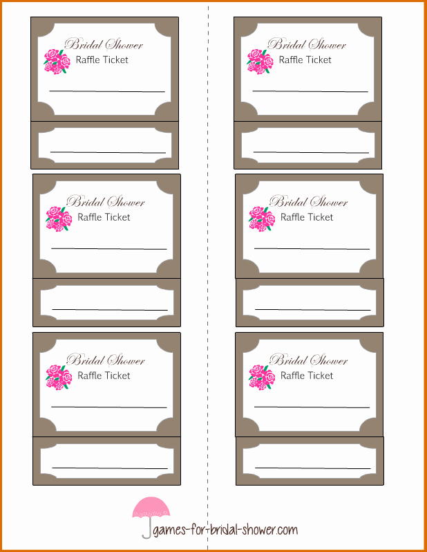 Printable Raffle Tickets Blank Kids Unique 6 Raffle Tickets Template