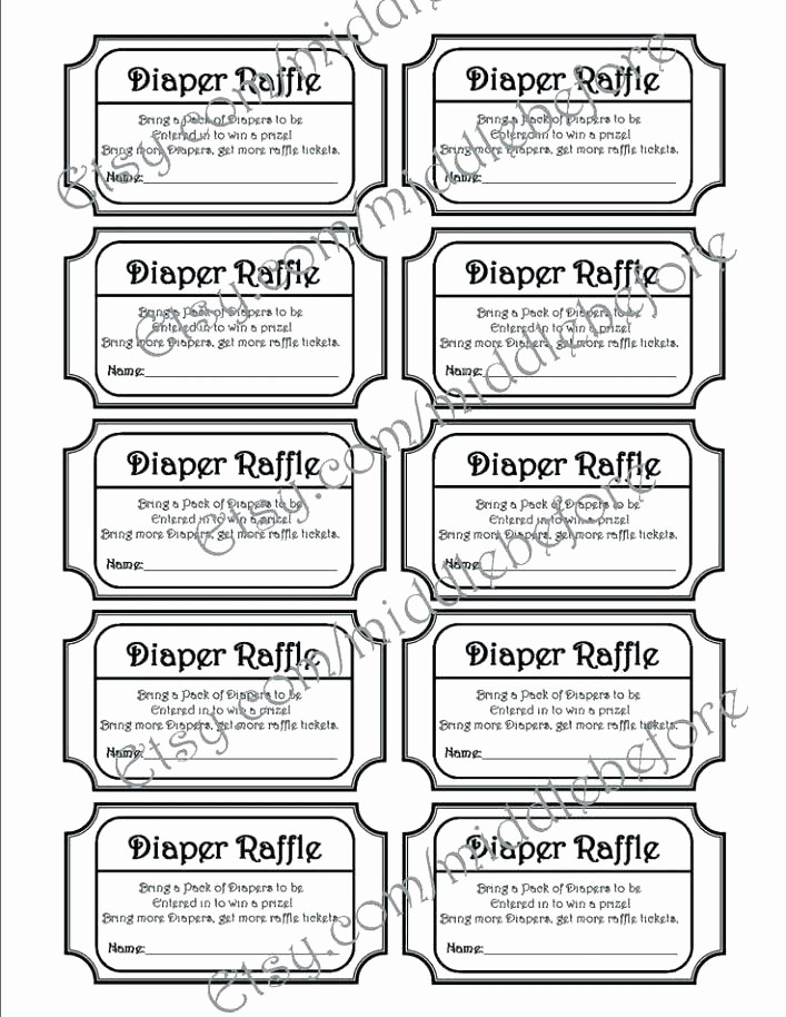 Printable Raffle Tickets Blank Kids Unique Free Printable Baby Shower Raffle Ticket Template Diaper