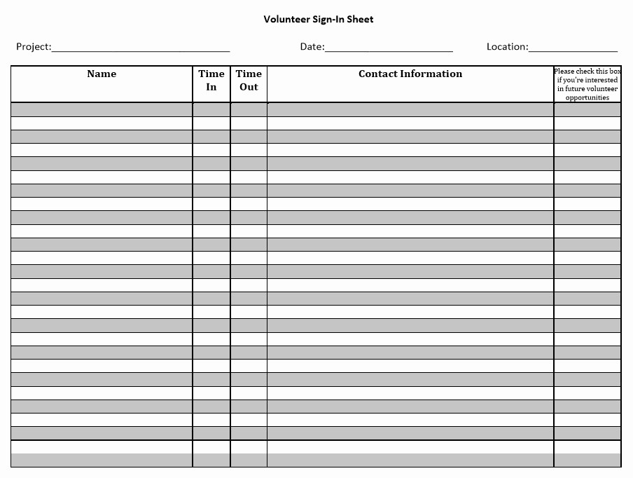 Printable Sign In Sheets Template New 10 Free Sample Volunteer Sign In Sheet Templates
