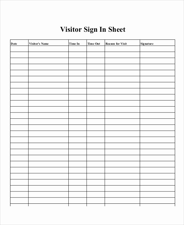 Printable Sign In Sheets Template Unique 10 Sample Printable Sign In Sheets