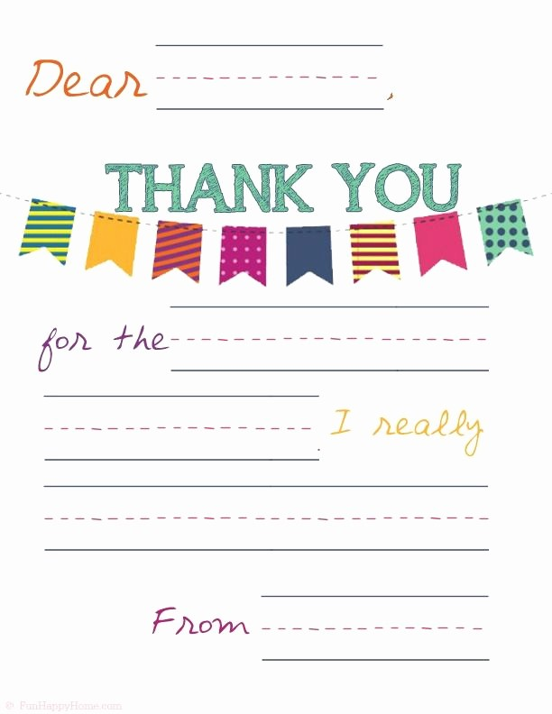 Printable Thank You Note Template Fresh Printable Thank You Notes that Will Make Your Kids Feel