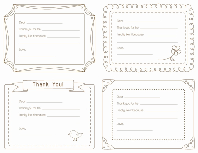 Printable Thank You Note Template Luxury Amy J Delightful Blog Kid S Printable Thank You Notes
