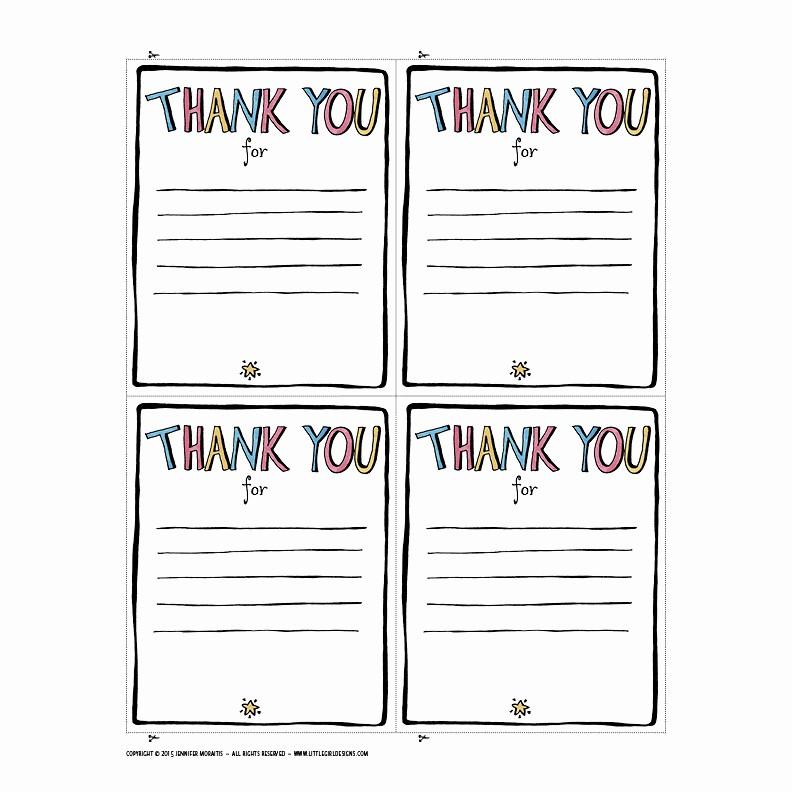 Printable Thank You Note Template Luxury Thank You Printable Jennie Moraitis