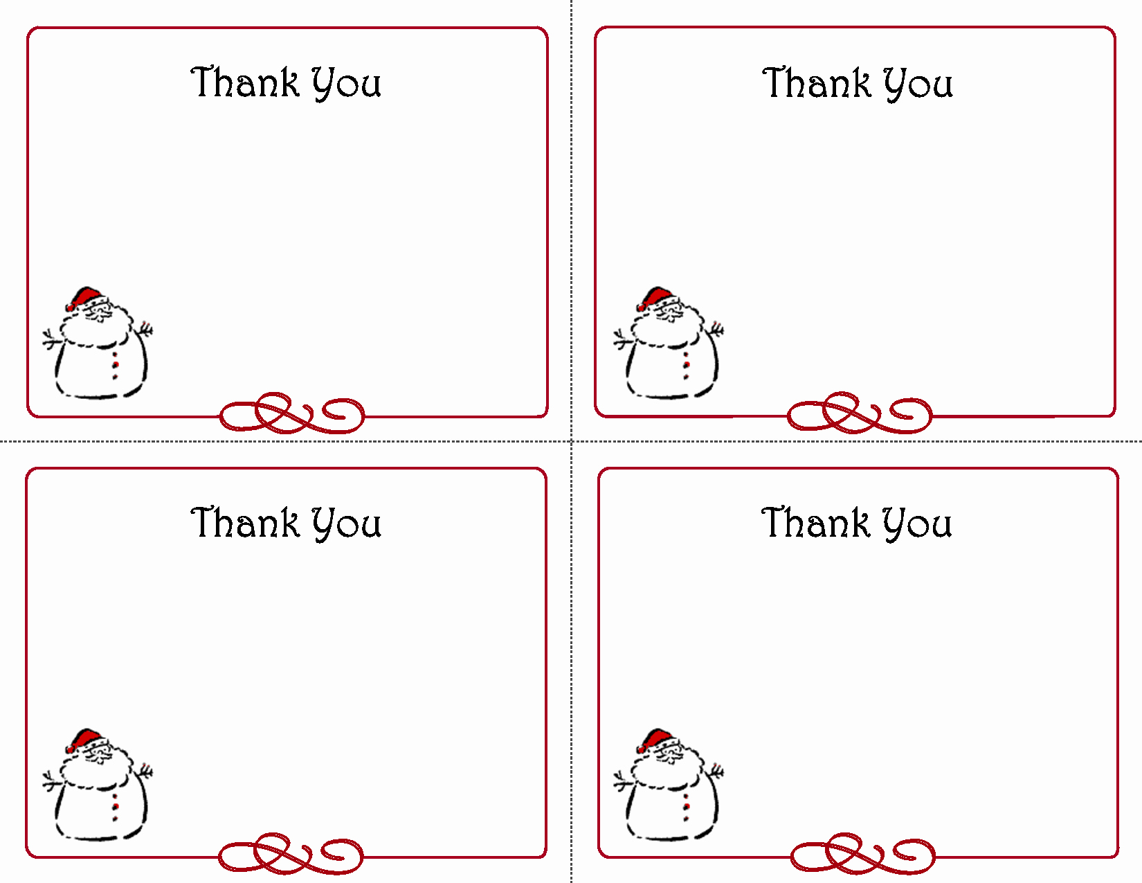 Printable Thank You Note Template Unique Printable Christmas Thank You Card Templates