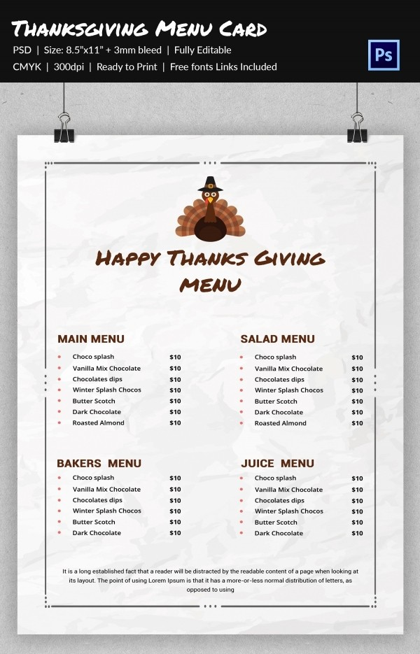 Printable Thanksgiving Menu Template Free Awesome 23 Thanksgiving Menu Templates Free Sample Example
