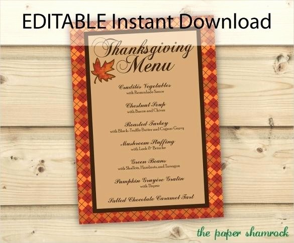 Printable Thanksgiving Menu Template Free Awesome Editable Instant Download Thanksgiving Menu Template Free