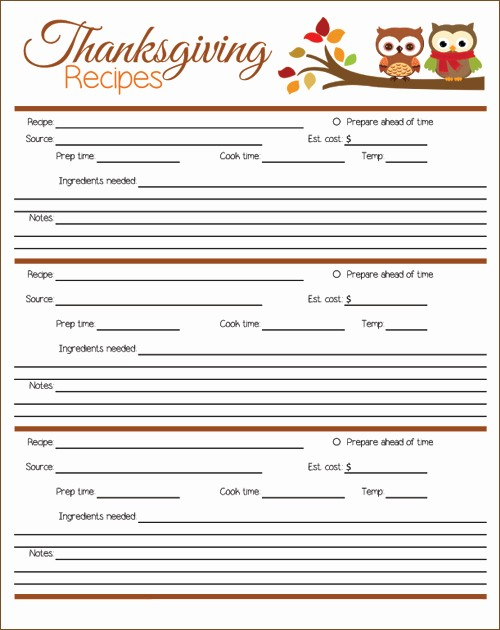 Printable Thanksgiving Menu Template Free Awesome My Owl Barn Printable Thanksgiving Menu Planner