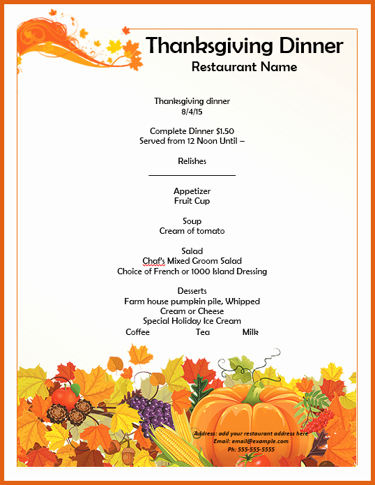 Printable Thanksgiving Menu Template Free Beautiful Thanksgiving Menu Template Templates Data